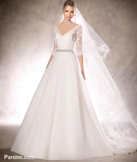 لباس عروس تور , مدل لباس عروس دامن پفی آستین بلند