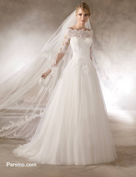 مدل لباس عروس شیک خارجی , لباس عروس تور و دنباله دار