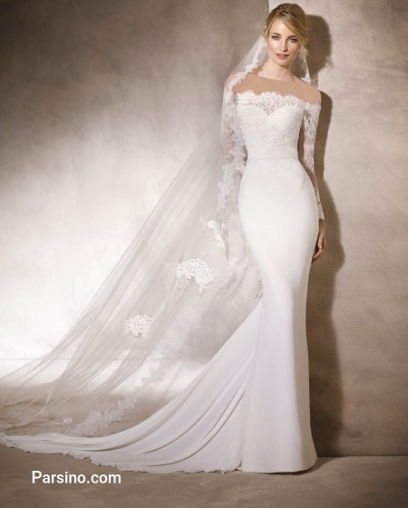 لباس عروس دنباله دار خارجی زیبا