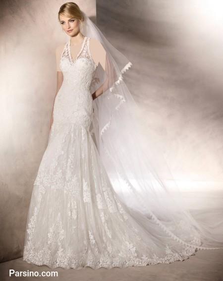 مدل لباس عروس دکلته , لباس عروس دوبنده