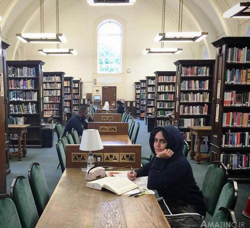 الناز شاکردوست لندن , عکس الناز شاکردوست در خارج ,الناز شاکردوست در لندن , الناز شاکردوست کتابخانه لندن