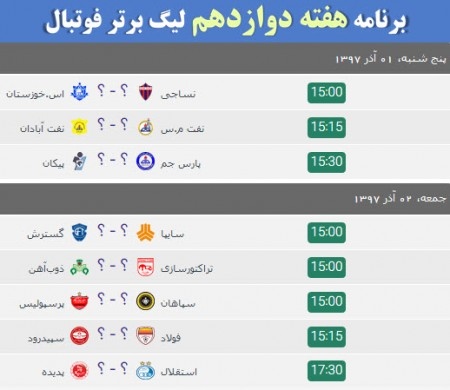 هفته دوازدهم لیگ فوتبال خلیج فارس