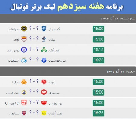 برنامه هفته سیزدهم لیگ برتر فوتبال خلیج فارس